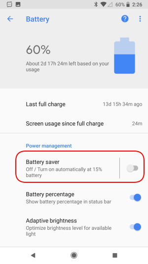 Android battery saver current