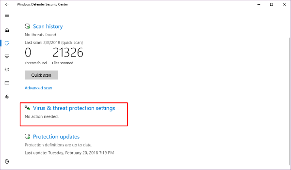 Windows Virus and Threat Protection Setting