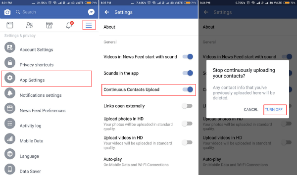 App settings in Facebook