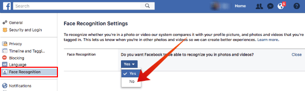 Facebook Face Recognition Disable