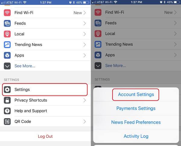 Facebook Settings on iOS