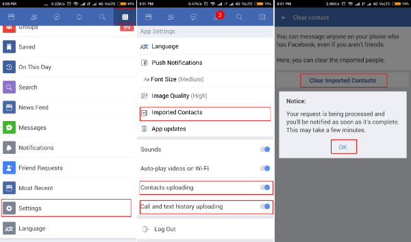 Facebook lite app settings