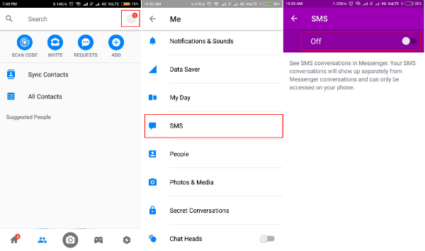 SMS settings in Messenger app