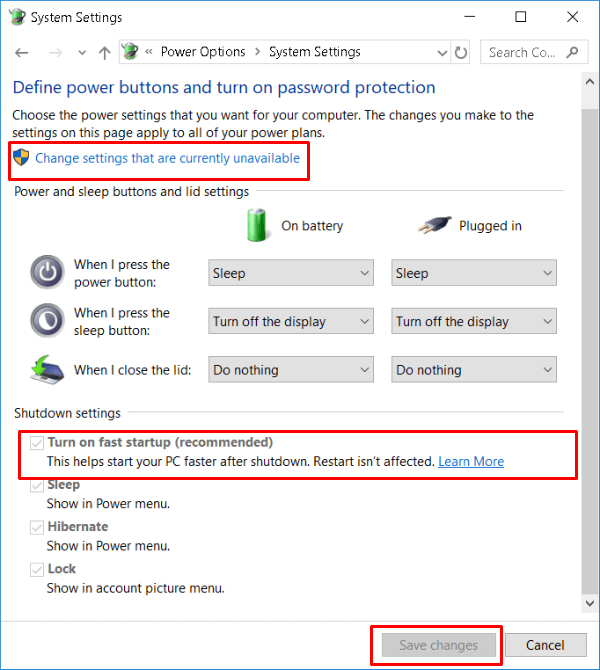 Windows10 Advanced Power Options