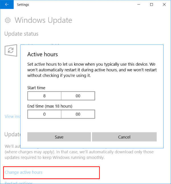 Active Hours Windows 10 gaming optimization