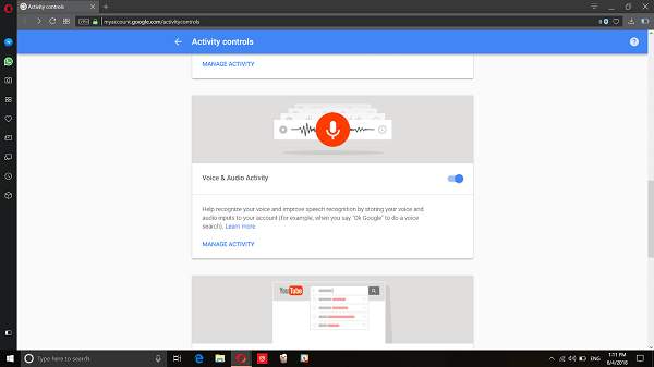 Google My Account Activity Control Option