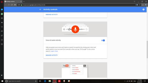 Google My Account Activity Control Option