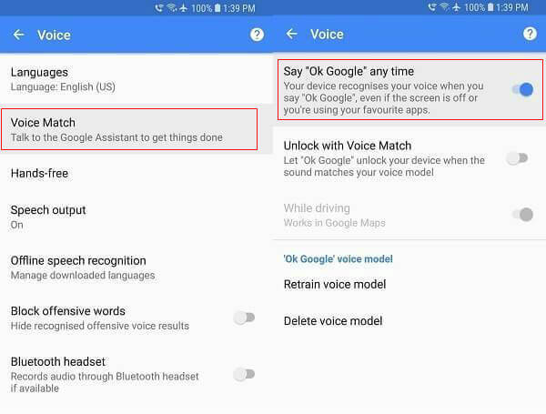 Google Settings Voice Option for Android