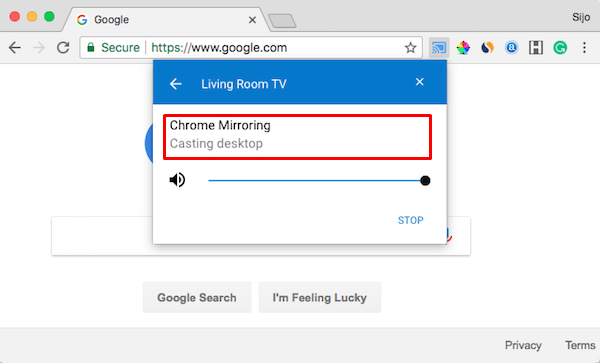 Mac Desktop ChromeCasting