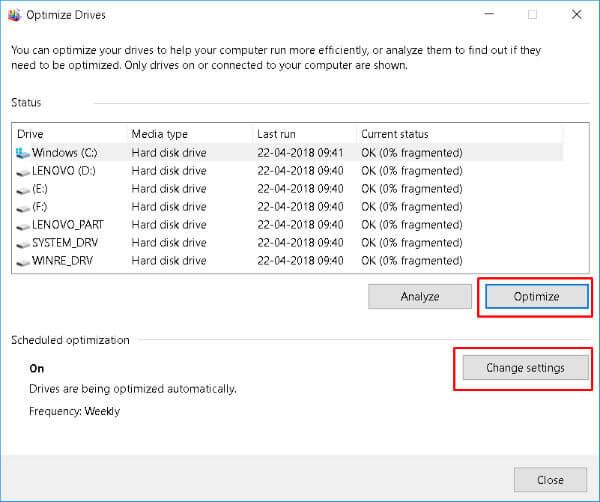 Optimize Drives windows 10 gaming optimization