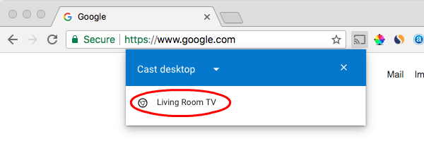 Select ChromeCast Desktop