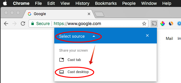 Select Chromecast Source