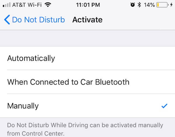 iPhone DND Activation Modes