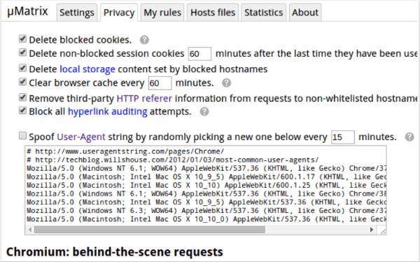 uMatrix privacy browser plugin - privacy protection