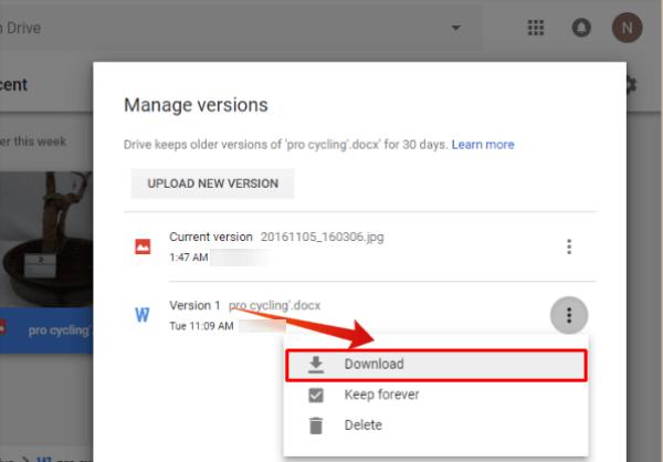 Google Drive Download Previous Version