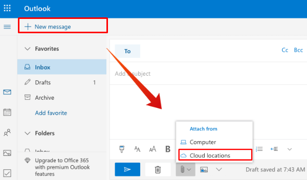 Outlook Attach File from Cloud