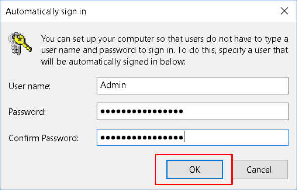 automatically signin windows 10