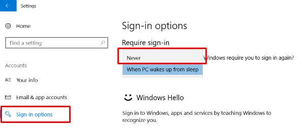 change sign in options in windows 10