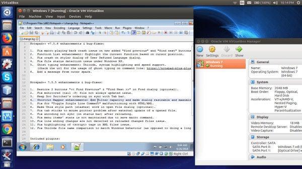 Windows application in VirtualBox