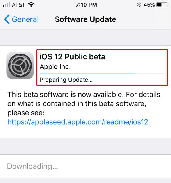 iOS Update Screen