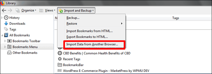 windows firefox bookmarks import