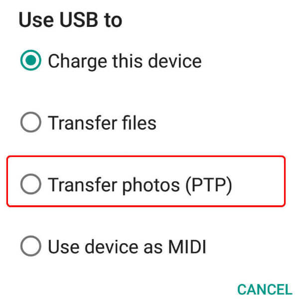 Android to PC connection modes image transfer