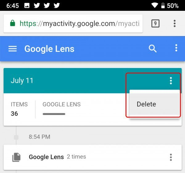 Delete Google Lens Activity by Date
