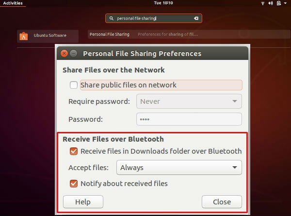 Personal file sharing preferences image transfer