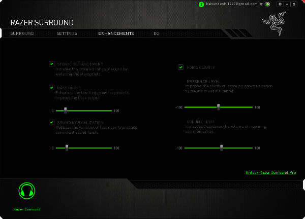 Razer Surround sound equaliser apps