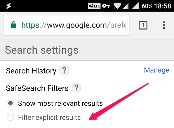 android chrome preferences