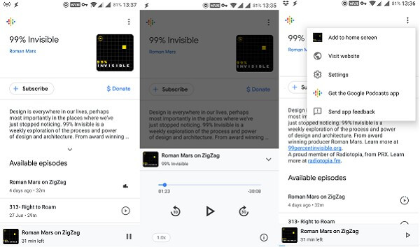 android google assistant podcast player