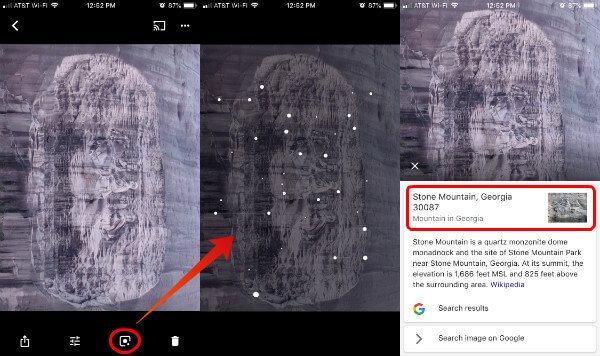 iPhone Google Lens on Google Photos