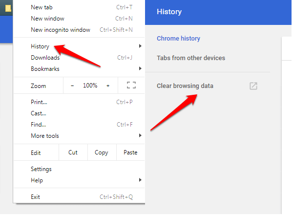 windows chrome browser data settings