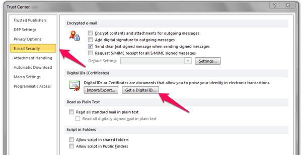 windows outlook digital id option