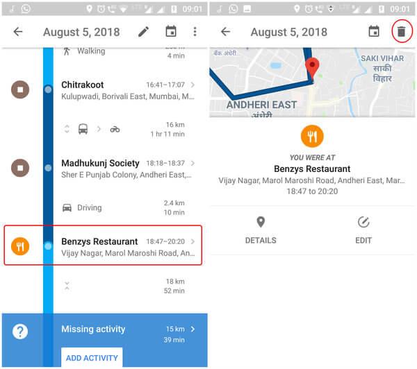 Delete specific Google Map location history