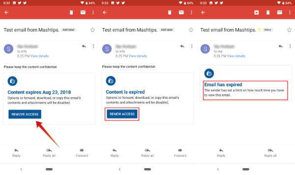 Gmail App Confidential Mode Revoke Email