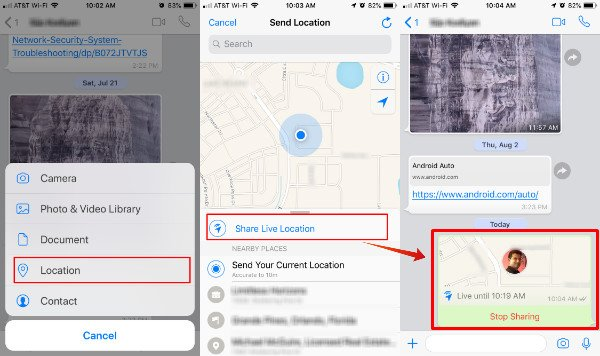 Live Location Sharing WhatsApp iOS