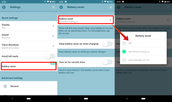 Waze Battery Saving Setting