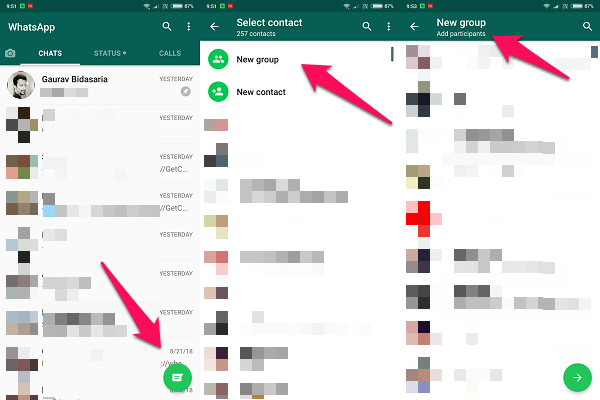 android whatsapp group
