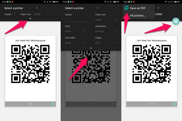 android whatsapp pdf n printer
