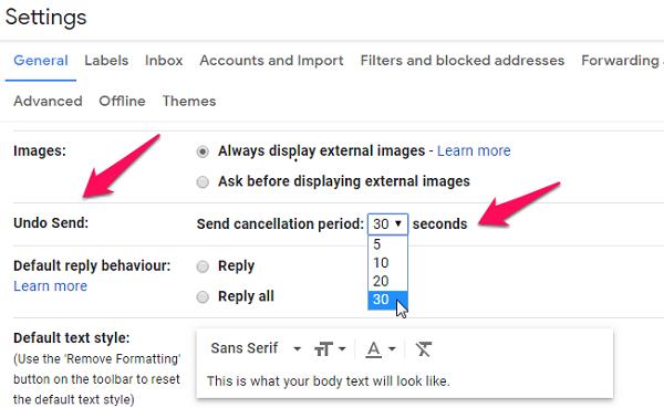 windows chrome gmail undo email settings