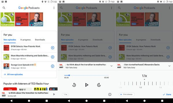 Control audio playback Google Podcasts