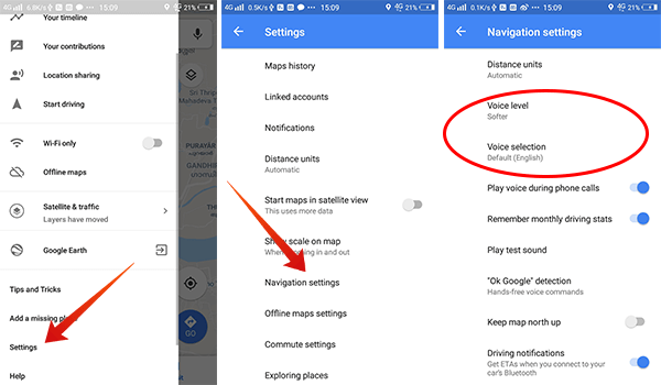 How to change navigation voice settings