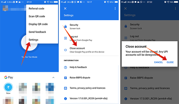 How to close Google Pay Tez Account