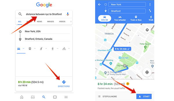 How to get distance and direction from Google search results