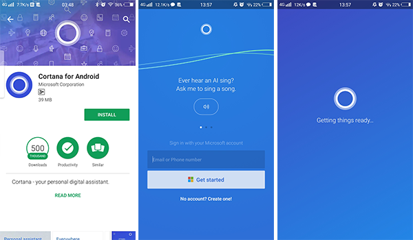Install and setup Cortana on Android