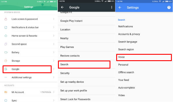 Offline Speech recognition settings Android