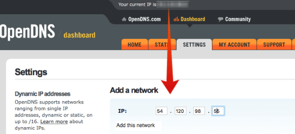 Open DNS Add Network IP