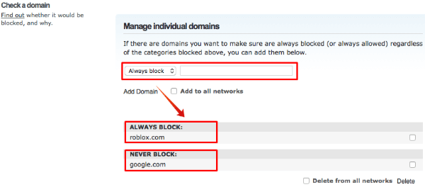 Open DNS Block Websites