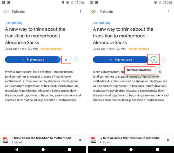 Save Google podcasts offline